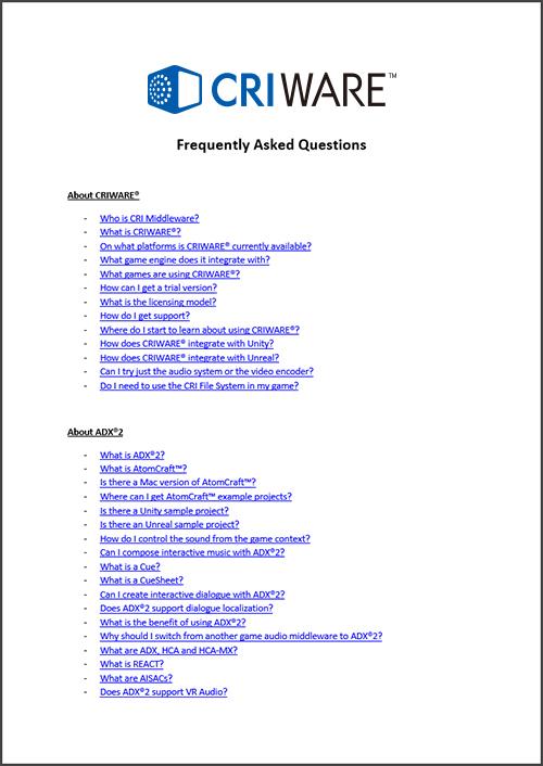 FAQ | adx2 Unity plugin support site