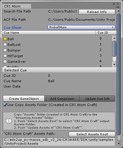 Getting the data into the game | adx2 Unity plugin support site